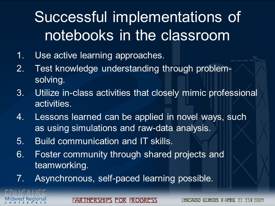 Successful implementations of notebooks in the classroom 1.Use active learning approaches. 2.Test knowledge understanding through problem- solving. 3.