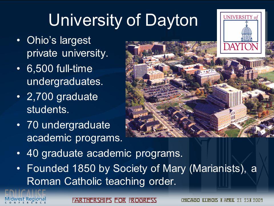 University of Dayton Ohio's largest private university.