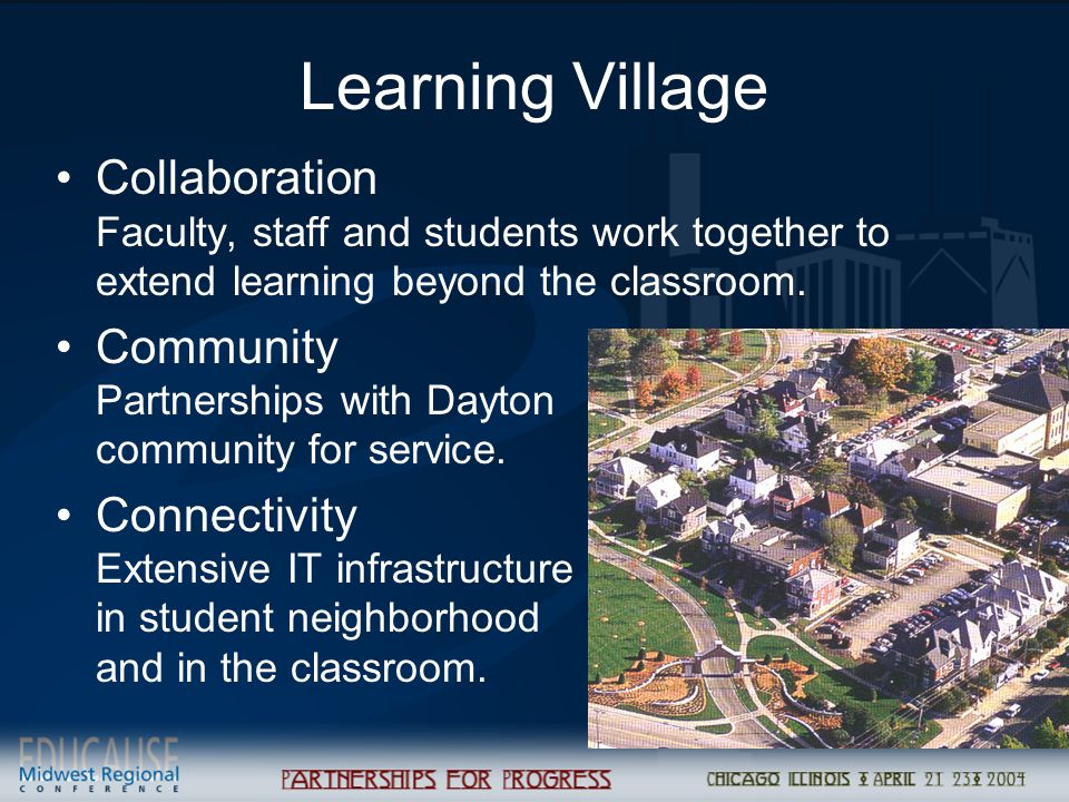 Learning Village Collaboration Faculty, staff and students work together to extend learning beyond the classroom.