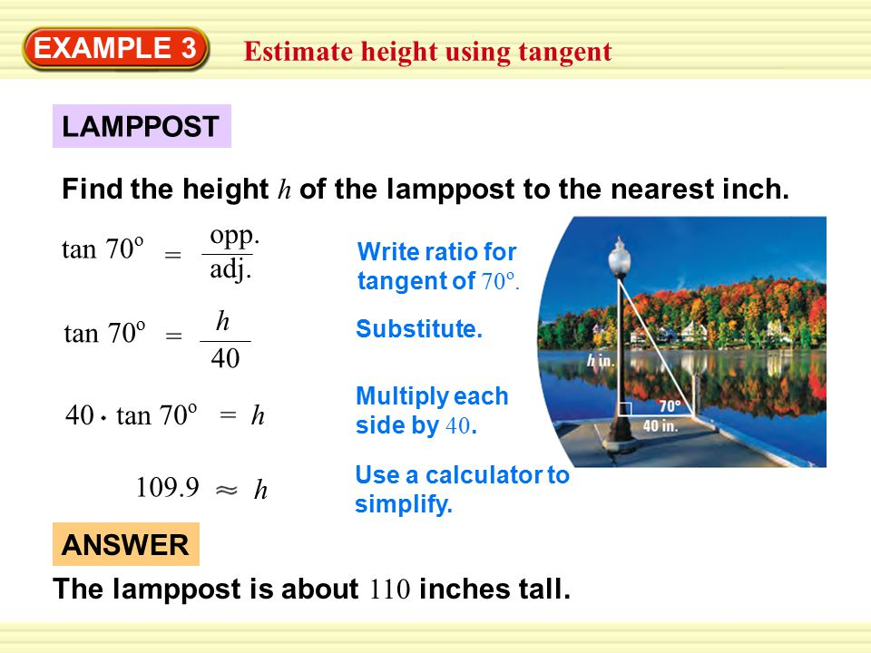 EXAMPLE 4 Use a special right triangle to find a tangent Use a special right triangle to find the tangent of a 60 o angle.