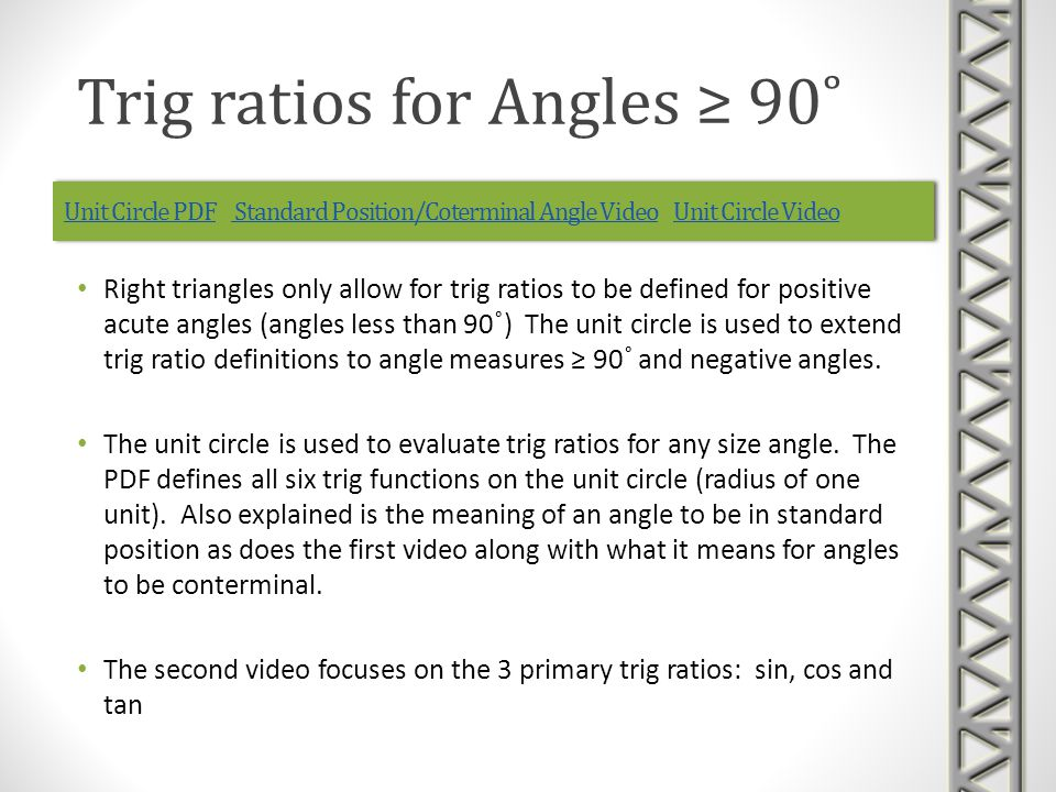Unit Circle PDFUnit Circle PDF Standard Position/Coterminal Angle Video Unit Circle Video Standard Position/Coterminal Angle VideoUnit Circle VideoUnit Circle PDFUnit Circle PDF Standard Position/Coterminal Angle Video Unit Circle Video Standard Position/Coterminal Angle VideoUnit Circle Video Right triangles only allow for trig ratios to be defined for positive acute angles (angles less than 90˚) The unit circle is used to extend trig ratio definitions to angle measures ≥ 90˚ and negative angles.
