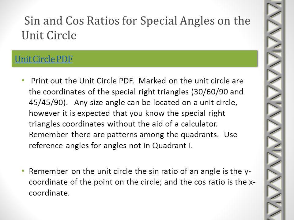 Unit Circle PDF Print out the Unit Circle PDF.