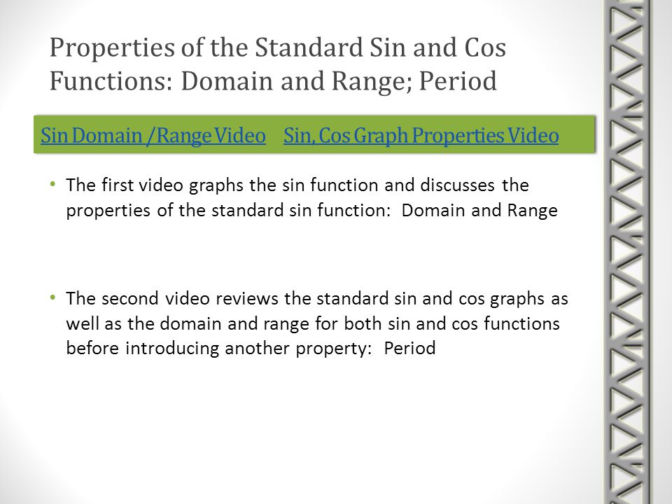 Sin Domain /Range VideoSin Domain /Range Video Sin, Cos Graph Properties VideoSin, Cos Graph Properties VideoSin Domain /Range VideoSin Domain /Range Video Sin, Cos Graph Properties VideoSin, Cos Graph Properties Video The first video graphs the sin function and discusses the properties of the standard sin function: Domain and Range The second video reviews the standard sin and cos graphs as well as the domain and range for both sin and cos functions before introducing another property: Period Properties of the Standard Sin and Cos Functions: Domain and Range; Period