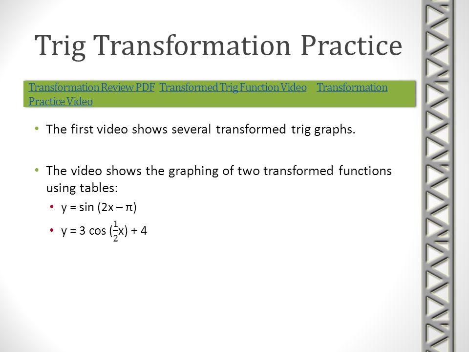 Transformation Review PDFTransformation Review PDF Transformed Trig Function Video Transformation Practice VideoTransformed Trig Function VideoTransfo