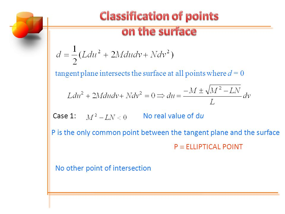 tangent plane intersects the surface at all points where d = 0 Case 1:No real value of du P is the only common point between the tangent plane and the