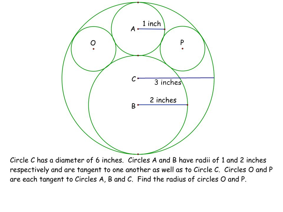 Find the following segments either as whole numbers or in terms of r (the radius of circle P) AB = AC = BC = AP = BP = CP = 3 2 1 r + 1 r + 2 3 - r