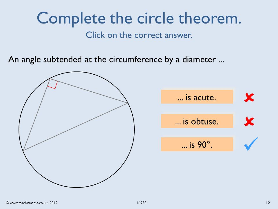 © www.teachitmaths.co.uk 2012 16973 Complete the circle theorem.