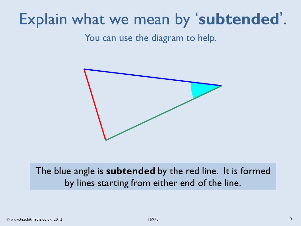 © www.teachitmaths.co.uk 2012 16973 Explain what we mean by 'subtended'.