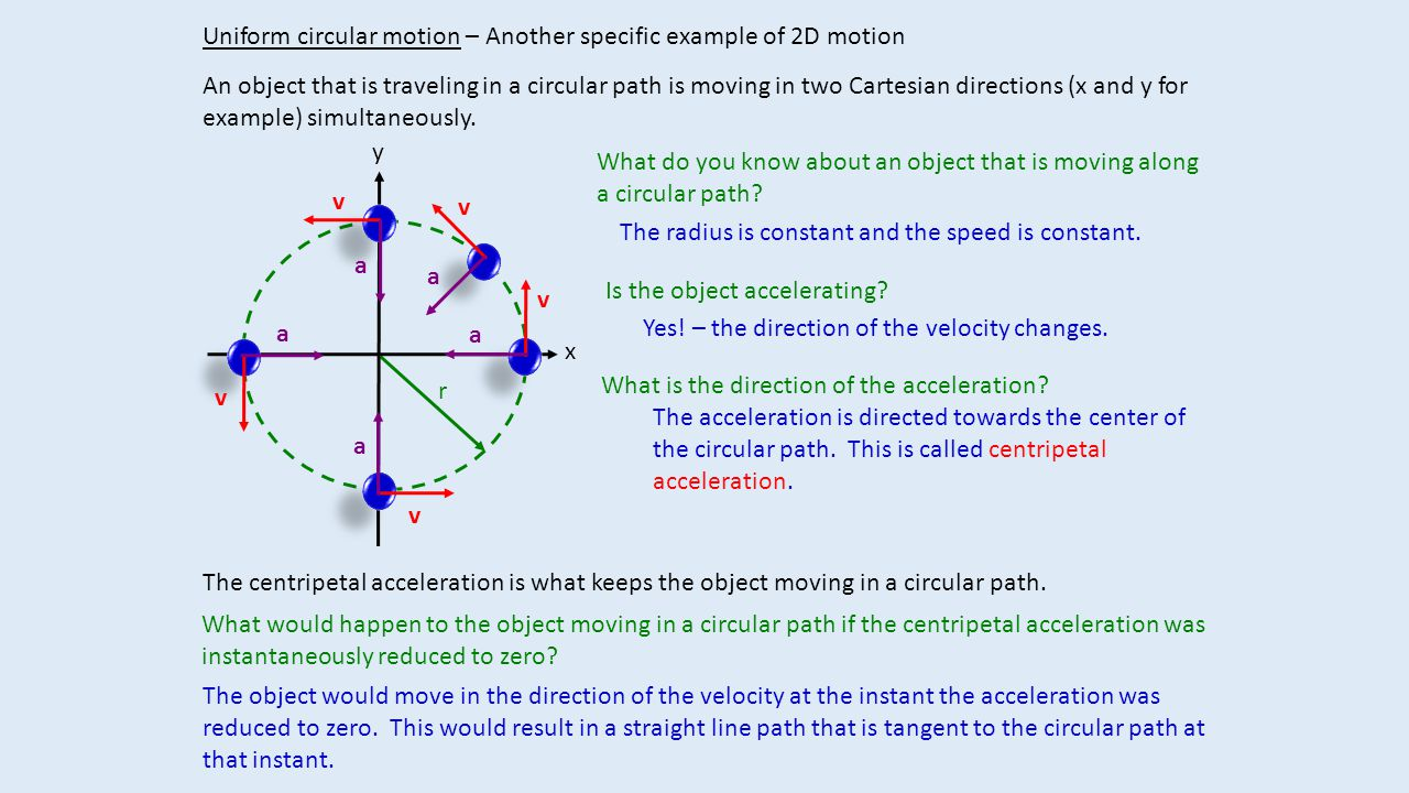 r Uniform circular motion – Another specific example of 2D motion An object that is traveling in a circular path is moving in two Cartesian directions