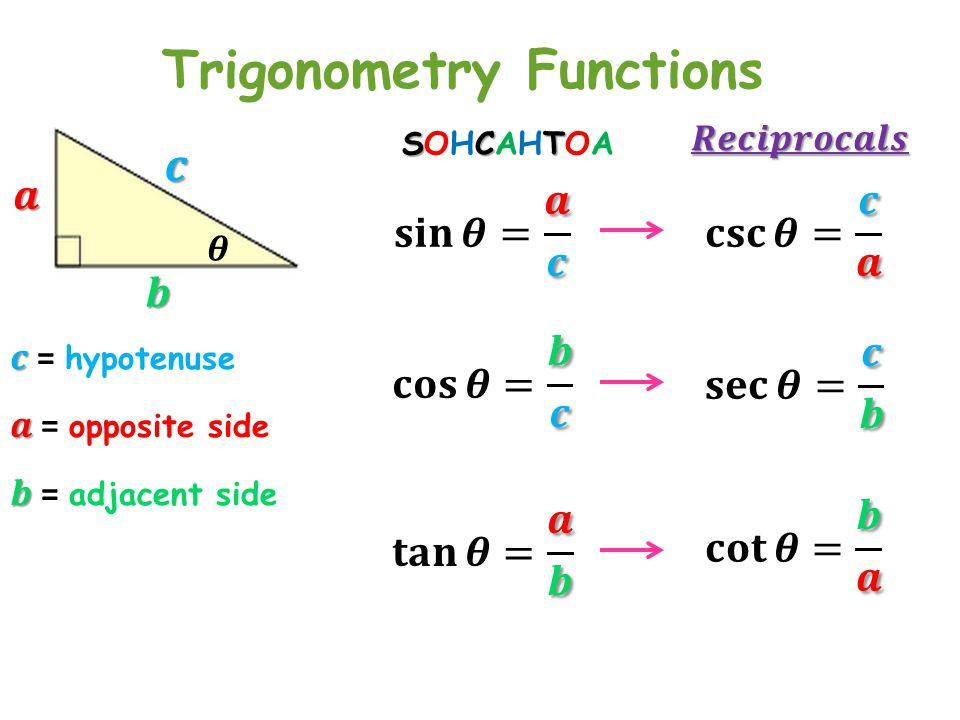 Trigonometry Functions SCTSOHCAHTOASCTSOHCAHTOA