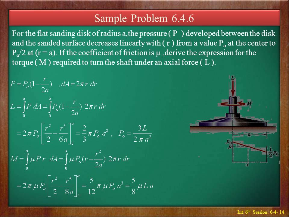 Int: 6 th Session: 6-4- 14 Sample Problem 6.4.6 For the flat sanding disk of radius a,the pressure ( P ) developed between the disk and the sanded sur