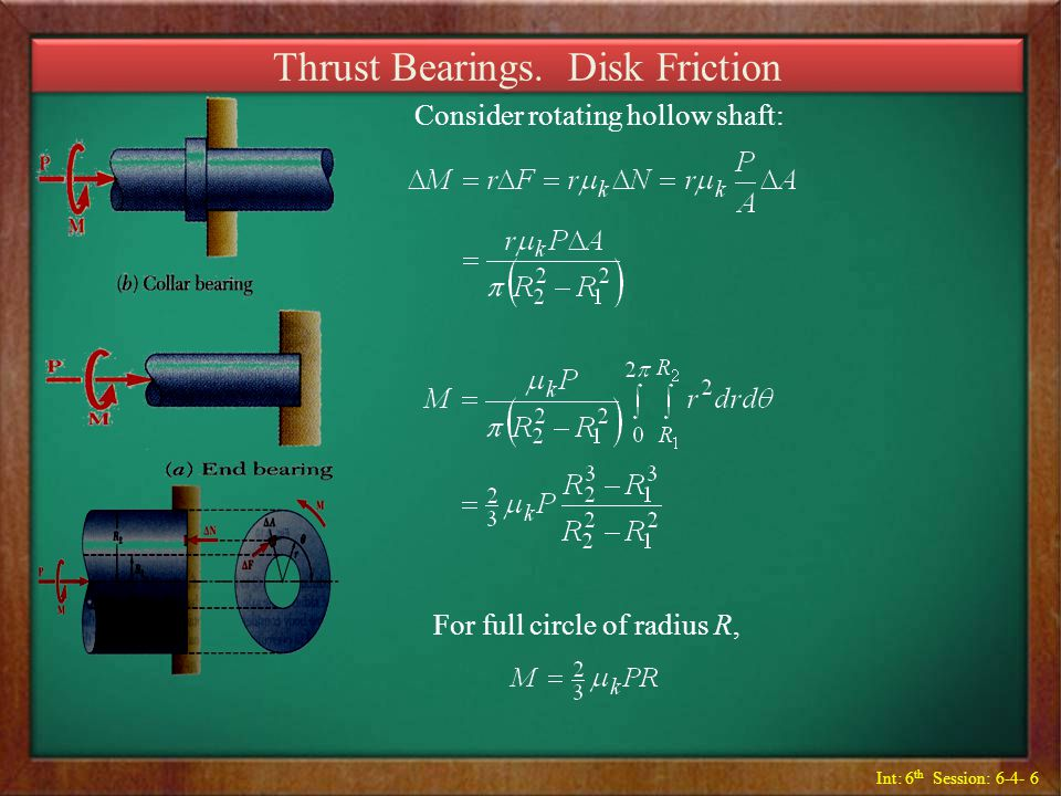 Int: 6 th Session: 6-4- 6 Thrust Bearings. Disk Friction Consider rotating hollow shaft: For full circle of radius R,
