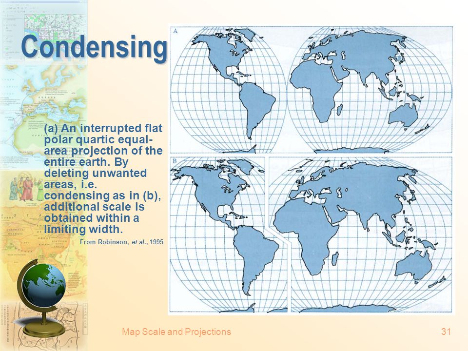 Map Scale and Projections30 Goode's homolosine projection Goode's homolosine projection is an interrupted union of the sinusoidal projection equator-w