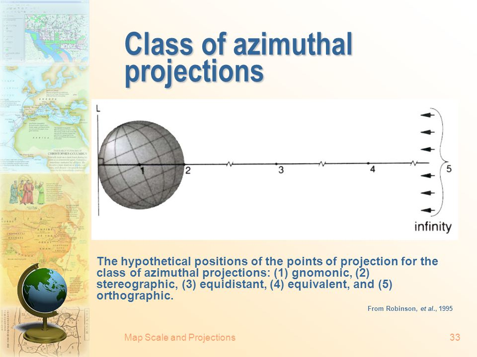 Map Scale and Projections32 Azimuthal projections  The stereographic: conformal.  Lambert equal-area: equal-area.  Azimuthal equidistant: the linea