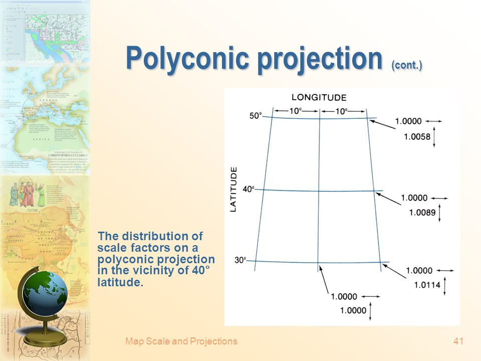 Map Scale and Projections40 Polyconic projection