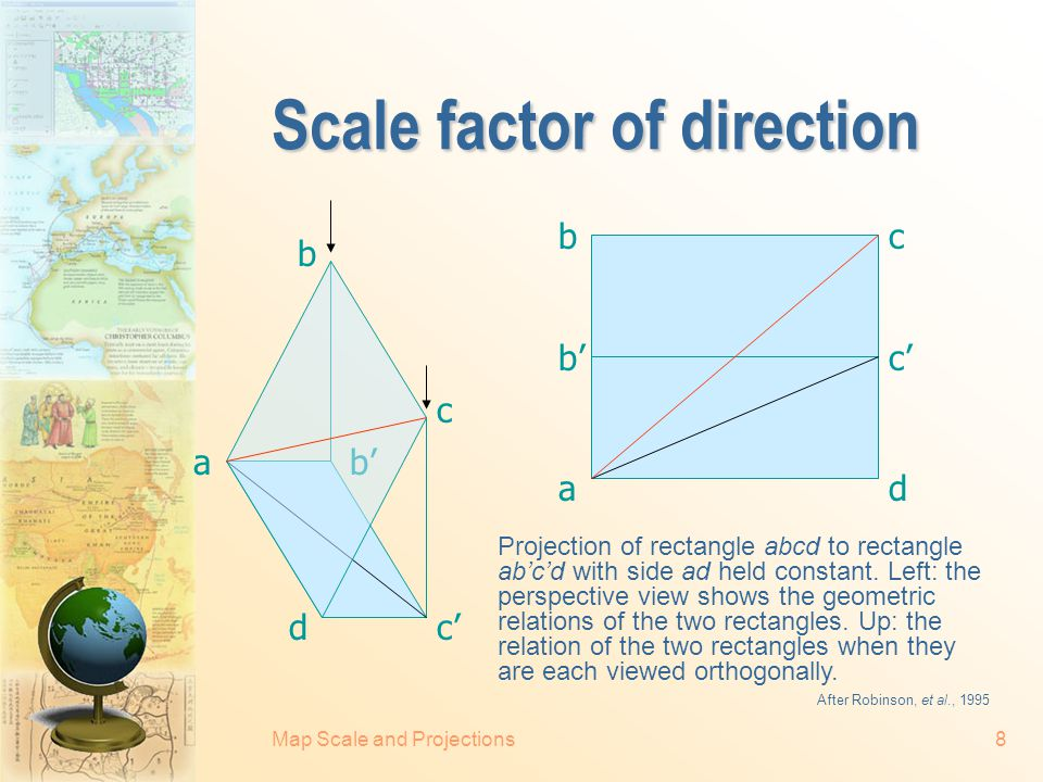 Map Scale and Projections7 Scale factor of distance a b' c' d' e' f' g' i' h' b c d e f g h i 90° Orthographic projection of an arc to a tangent strai