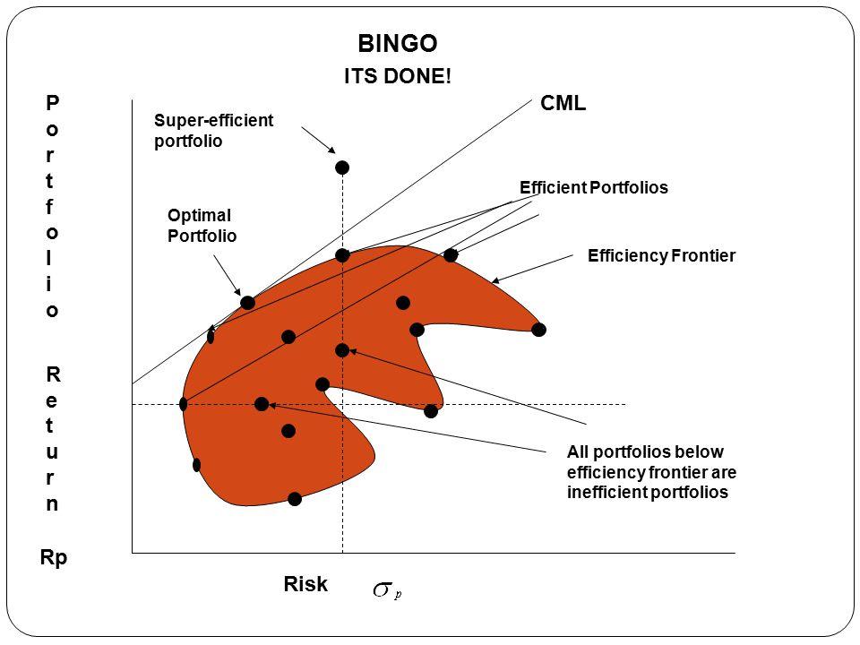 Portfolio ReturnPortfolio Return Risk BINGO ITS DONE.