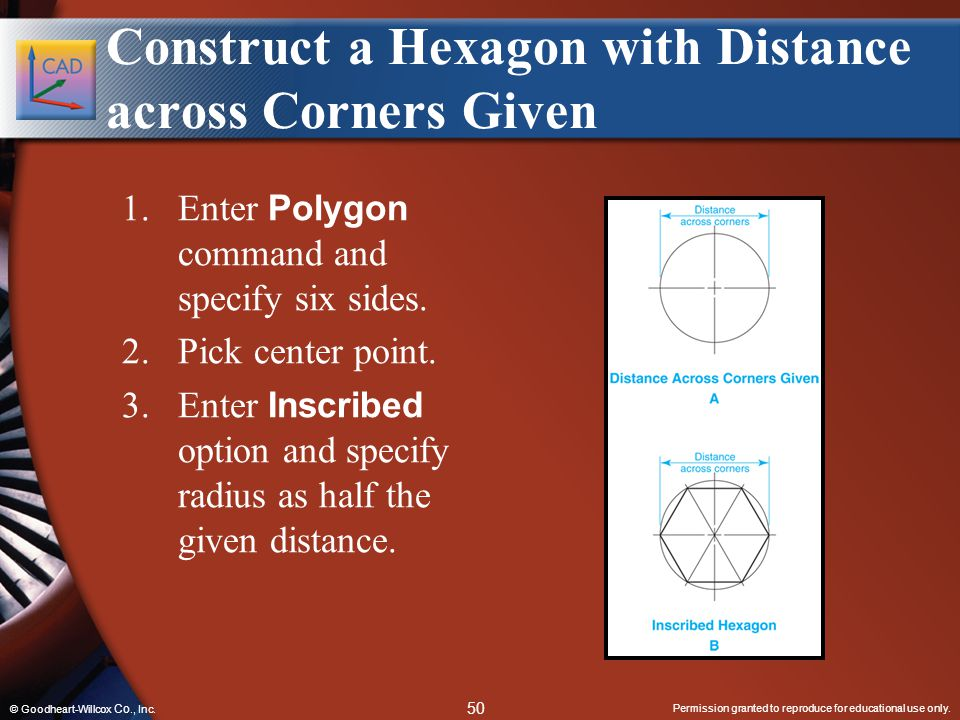 Permission granted to reproduce for educational use only. 50 © Goodheart-Willcox Co., Inc. Construct a Hexagon with Distance across Corners Given 1.En