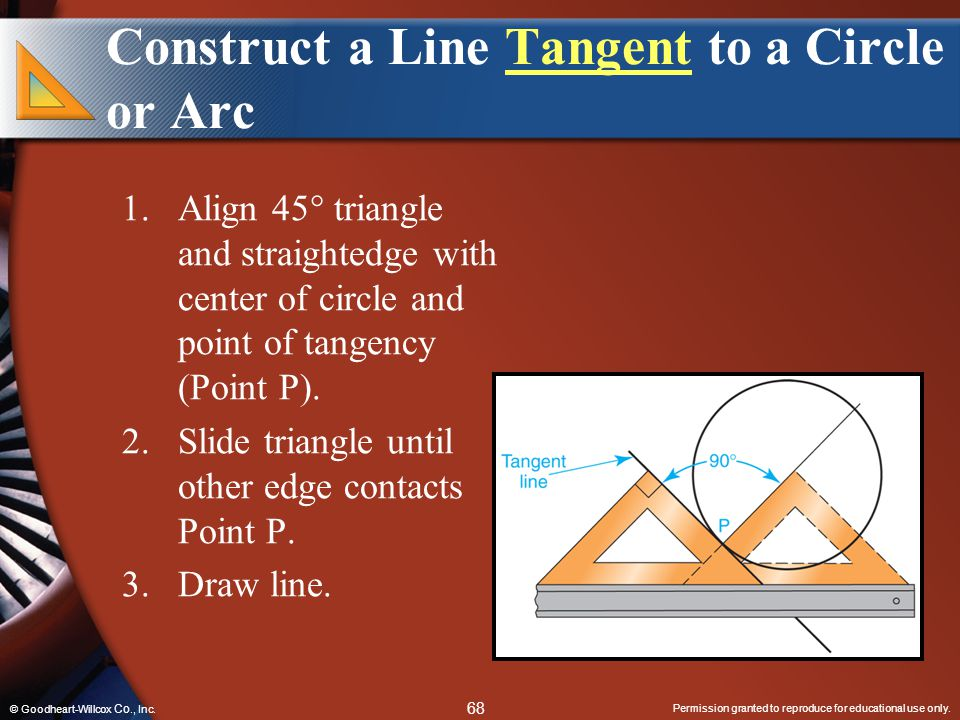 Permission granted to reproduce for educational use only. 68 © Goodheart-Willcox Co., Inc. Construct a Line Tangent to a Circle or ArcTangent 1.Align