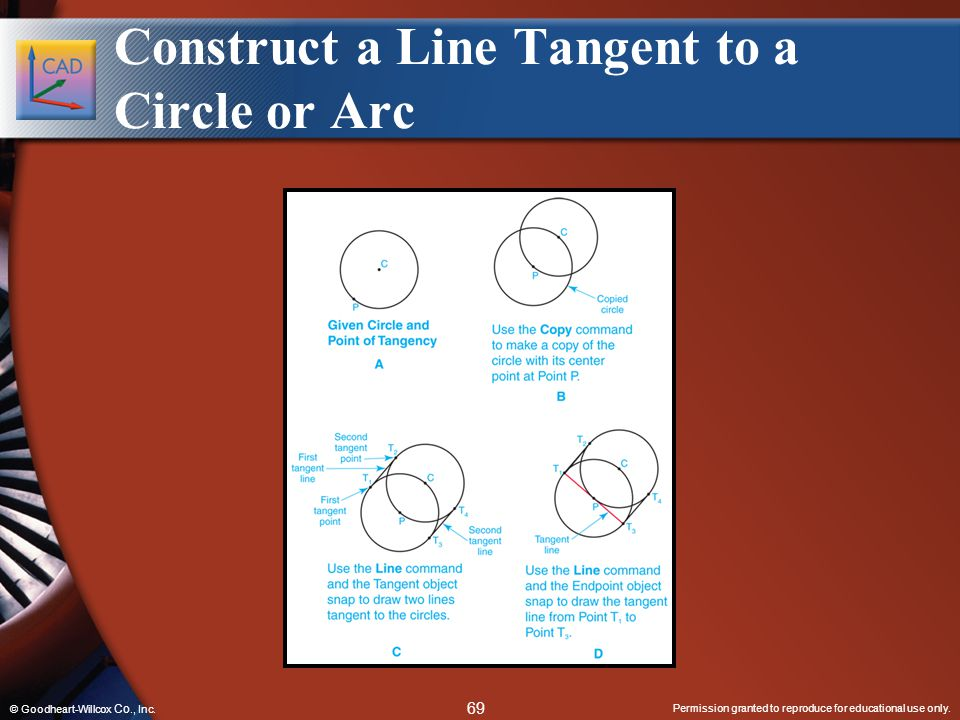 Permission granted to reproduce for educational use only. 69 © Goodheart-Willcox Co., Inc. Construct a Line Tangent to a Circle or Arc