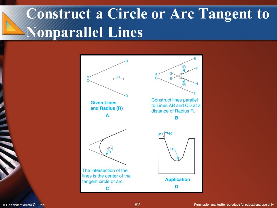 Permission granted to reproduce for educational use only. 82 © Goodheart-Willcox Co., Inc. Construct a Circle or Arc Tangent to Nonparallel Lines
