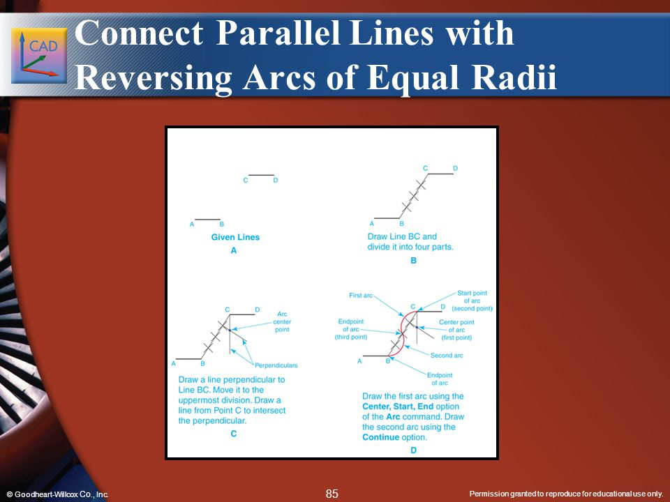 Permission granted to reproduce for educational use only. 85 © Goodheart-Willcox Co., Inc. Connect Parallel Lines with Reversing Arcs of Equal Radii