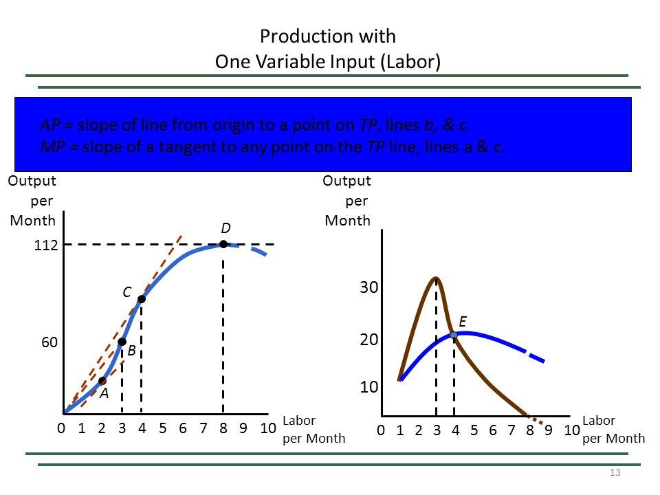 13 Production with One Variable Input (Labor) Labor per Month Output per Month 60 112 023456789101 A B C D 8 20 E 0234567 9 10 1 30 Output per Month L