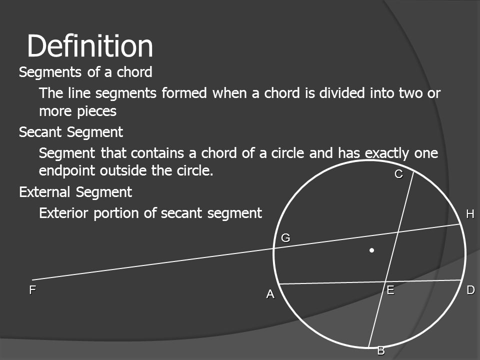 Definition Segments of a chord The line segments formed when a chord is divided into two or more pieces Secant Segment Segment that contains a chord of a circle and has exactly one endpoint outside the circle.