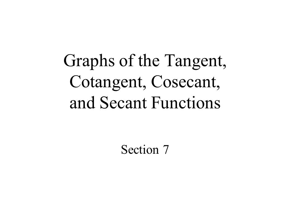 Objectives Graph transformations of the tangent and cotangent functions Graph transformations of the cosecant and secant functions
