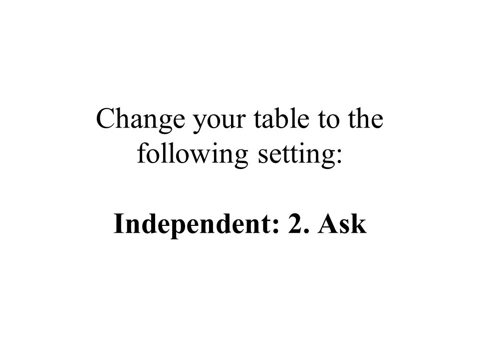 Change your table to the following setting: Independent: 2. Ask