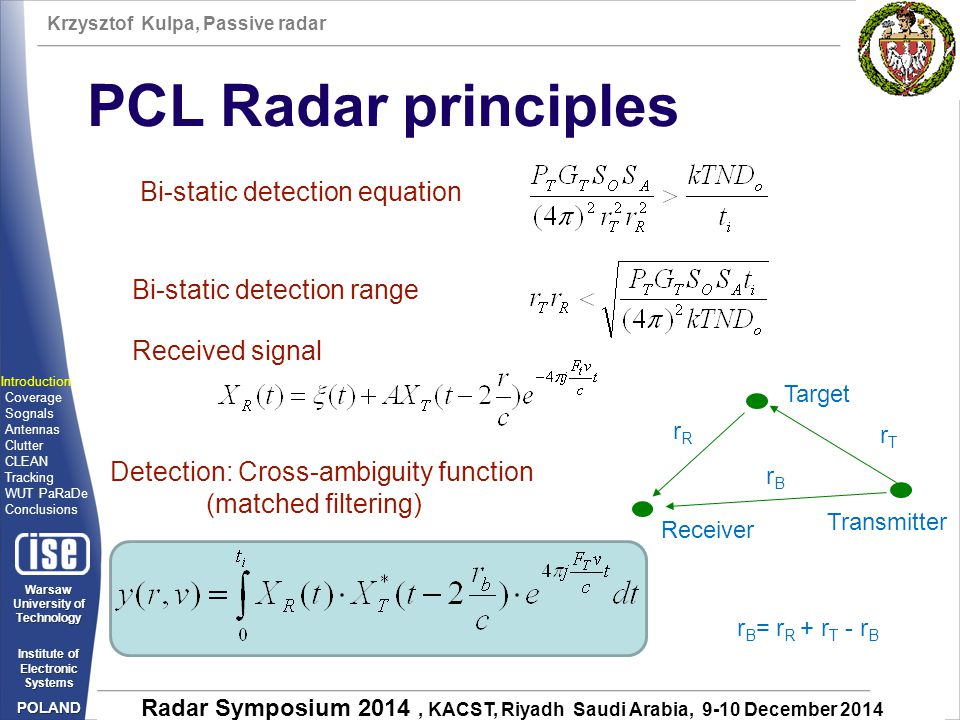 Krzysztof Kulpa, Passive radar Warsaw University of Technology Institute of Electronic Systems POLAND Radar Symposium 2014, KACST, Riyadh Saudi Arabia, 9-10 December 2014 PCL Radar principles Bi-static detection range Transmitter Receiver Target Bi-static detection equation rTrT rRrR Detection: Cross-ambiguity function (matched filtering) Received signal Introduction Coverage Sognals Antennas Clutter CLEAN Tracking WUT PaRaDe Conclusions rBrB r B = r R + r T - r B