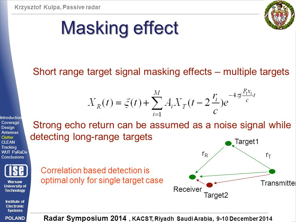Krzysztof Kulpa, Passive radar Warsaw University of Technology Institute of Electronic Systems POLAND Radar Symposium 2014, KACST, Riyadh Saudi Arabia, 9-10 December 2014 Transmitter Receiver Target1 Short range target signal masking effects – multiple targets Strong echo return can be assumed as a noise signal while detecting long-range targets rTrT rRrR Target2 Correlation based detection is optimal only for single target case Masking effect Introduction Coverage Design Antennas Clutter CLEAN Tracking WUT PaRaDe Conclusions