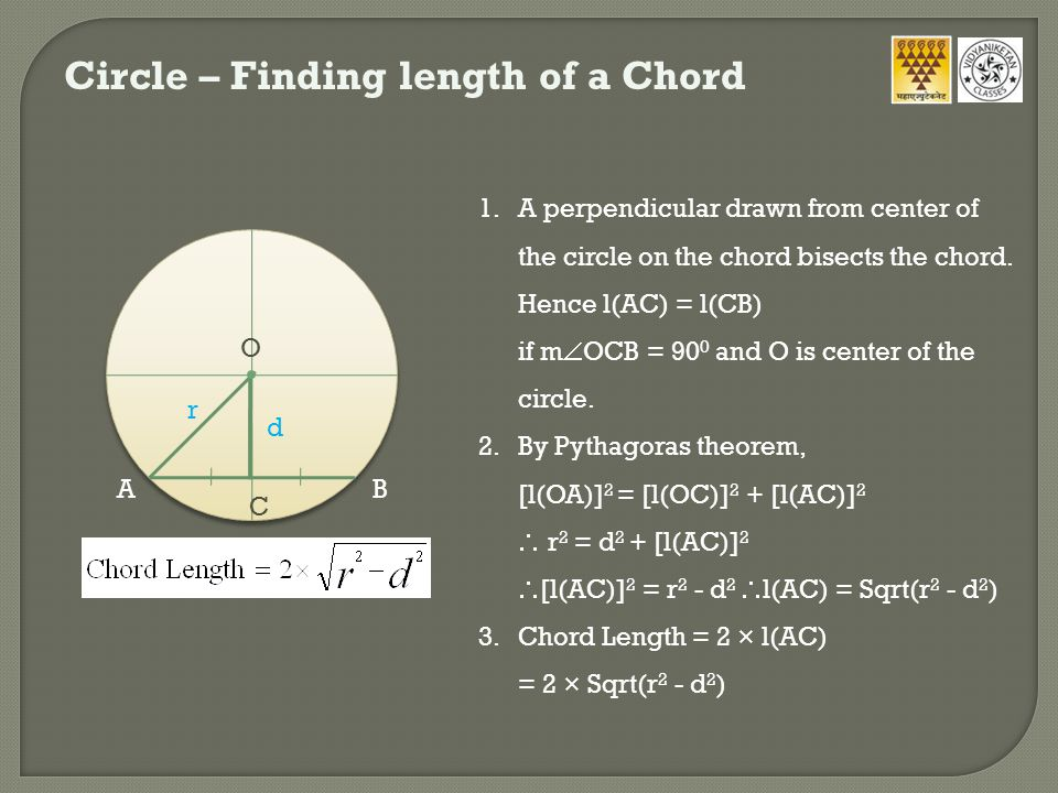 Circle – Finding length of a Chord r d 1.A perpendicular drawn from center of the circle on the chord bisects the chord.