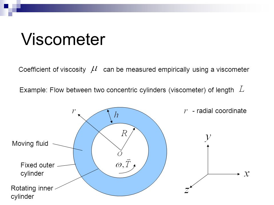 Viscometer Coefficient of viscosity can be measured empirically using a viscometer Example: Flow between two concentric cylinders (viscometer) of leng