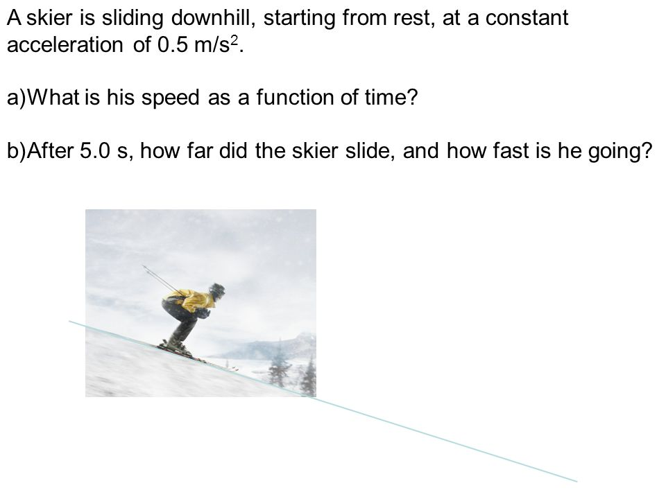 A skier is sliding downhill, starting from rest, at a constant acceleration of 0.5 m/s 2. a)What is his speed as a function of time? b)After 5.0 s, ho