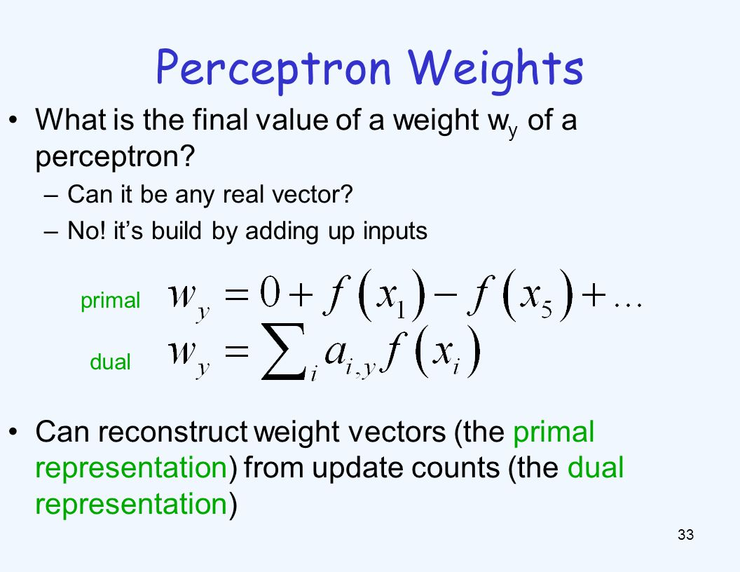 Dual Perceptron 34 How to classify a new example x.