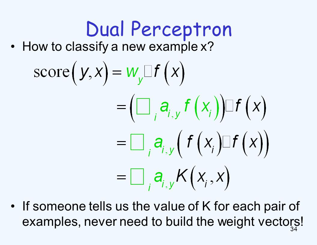 Dual Perceptron 35 Start with zero counts (alpha) Pick up training instances one by one Try to classify x n, If correct, no change.