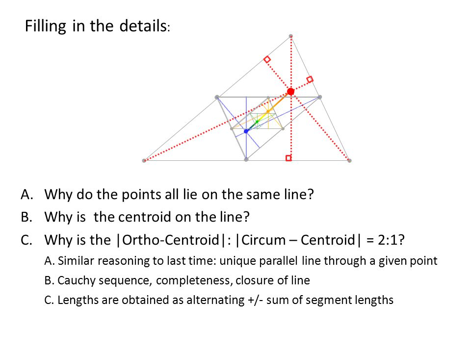 A.Why do the points all lie on the same line. B.Why is the centroid on the line.