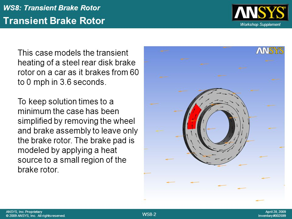 WS8: Transient Brake Rotor WS8-2 ANSYS, Inc. Proprietary © 2009 ANSYS, Inc. All rights reserved. April 28, 2009 Inventory #002599 Workshop Supplement
