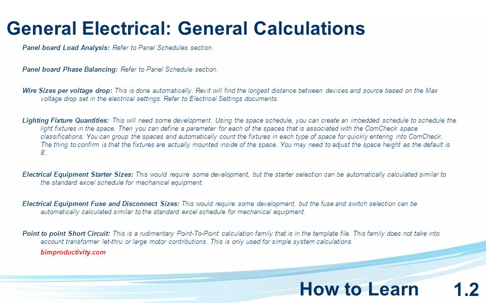 General Electrical: General Calculations Panel board Load Analysis: Refer to Panel Schedules section.