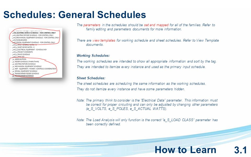 Schedules: General Schedules The parameters in the schedules should be set and mapped for all of the families.