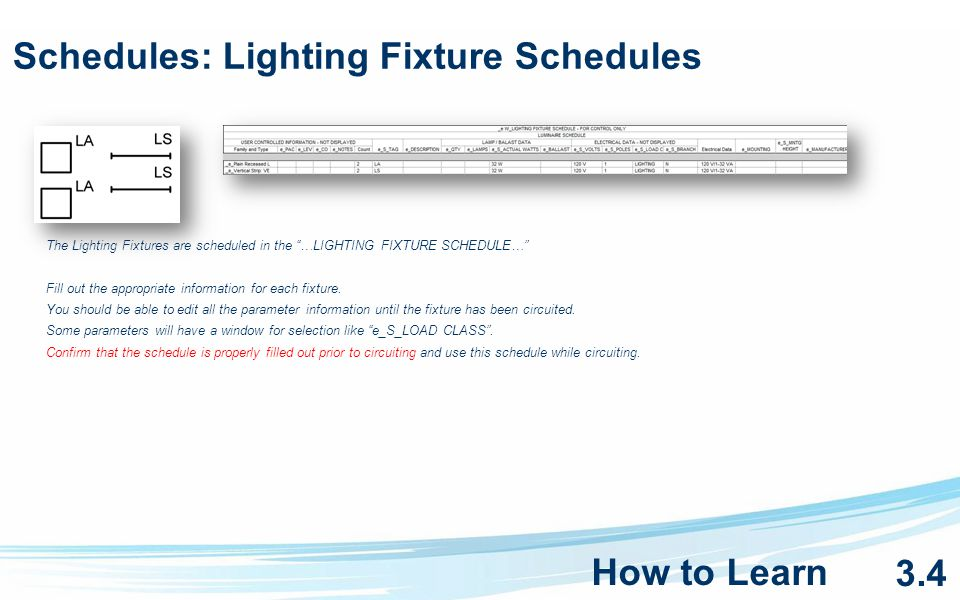 Schedules: Lighting Fixture Schedules The Lighting Fixtures are scheduled in the …LIGHTING FIXTURE SCHEDULE… Fill out the appropriate information for each fixture.