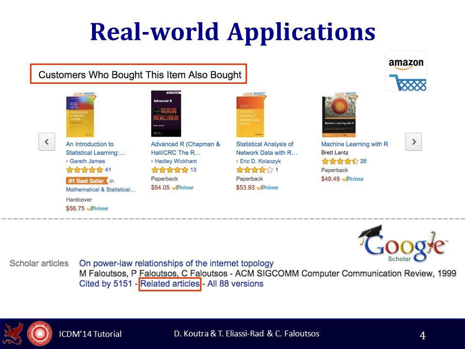 ICDM'14 Tutorial D. Koutra & T. Eliassi-Rad & C. Faloutsos Real-world Applications 4