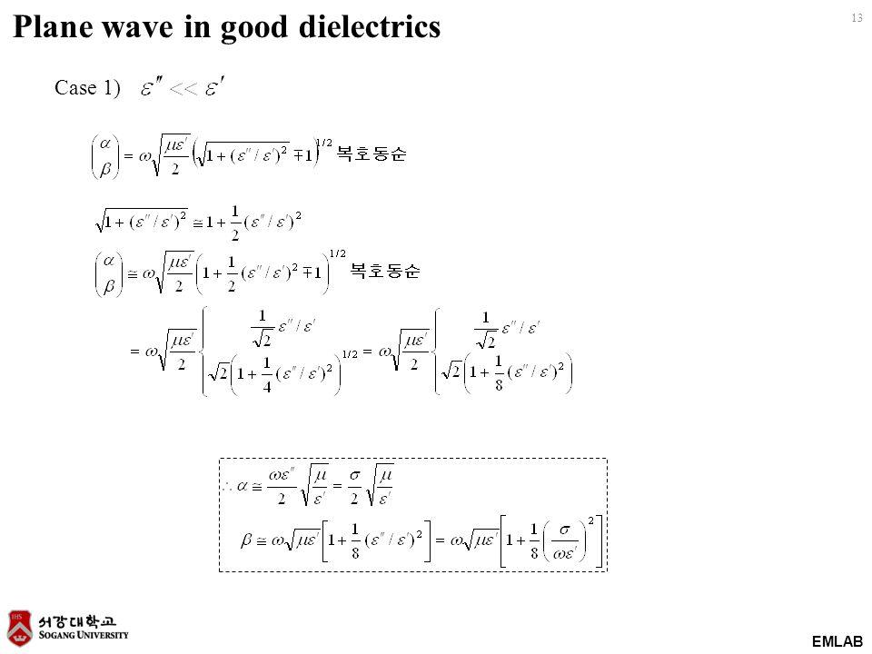 EMLAB 13 Case 1) Plane wave in good dielectrics