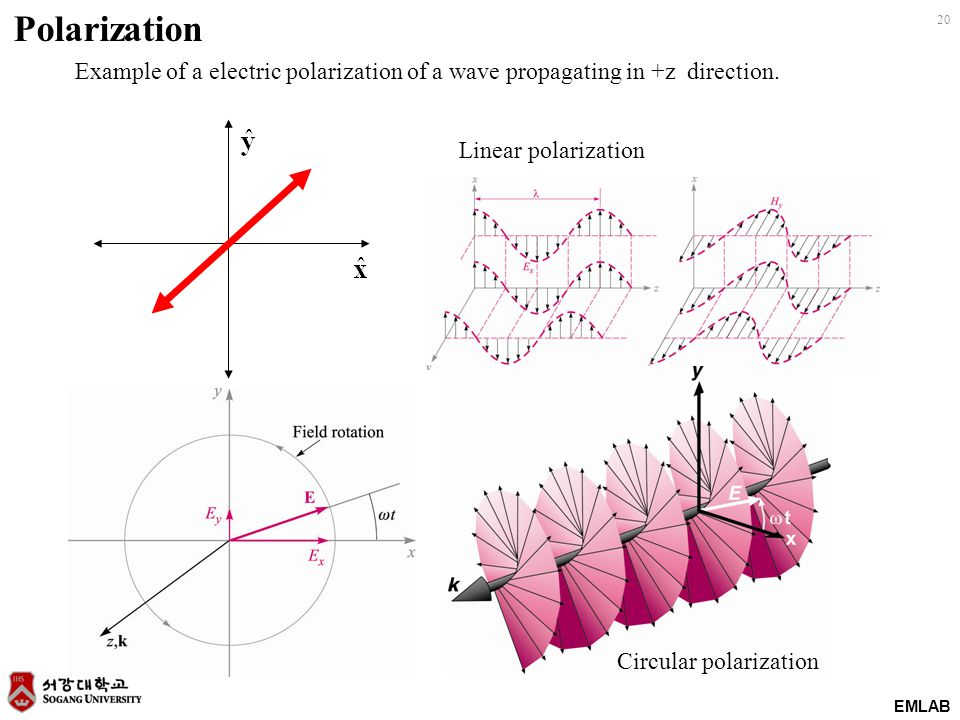 EMLAB 20 Polarization Example of a electric polarization of a wave propagating in +z direction. Linear polarization Circular polarization