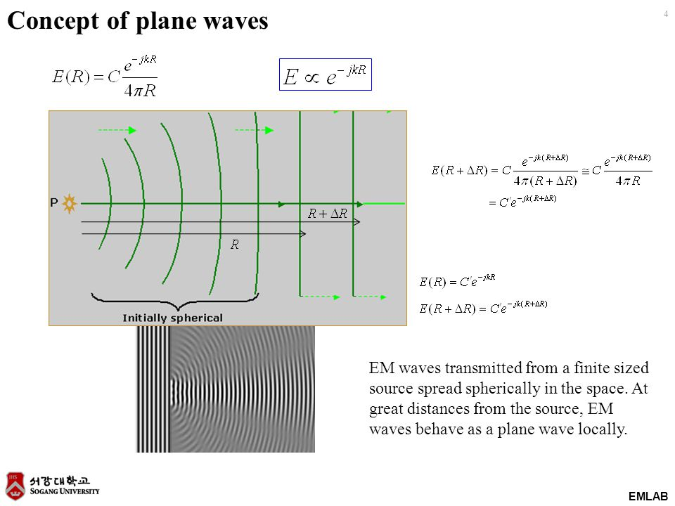 EMLAB 4 Concept of plane waves EM waves transmitted from a finite sized source spread spherically in the space. At great distances from the source, EM