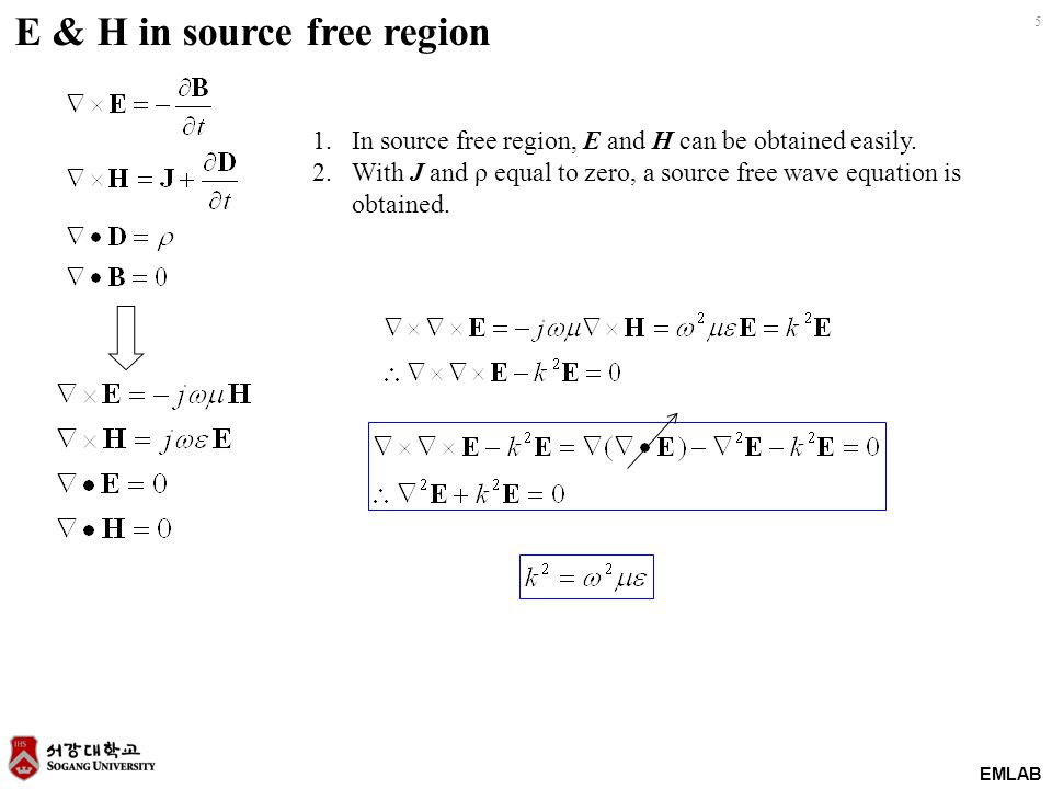 EMLAB 5 E & H in source free region 1.In source free region, E and H can be obtained easily. 2.With J and ρ equal to zero, a source free wave equation