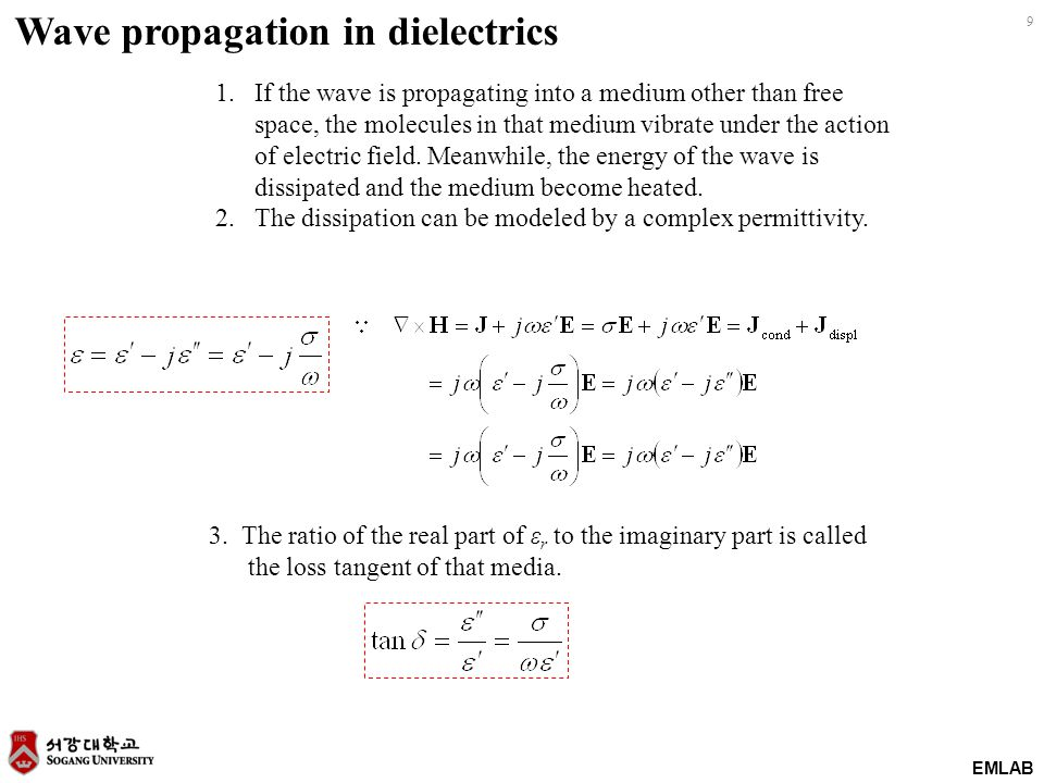 EMLAB 9 Wave propagation in dielectrics 1.If the wave is propagating into a medium other than free space, the molecules in that medium vibrate under t