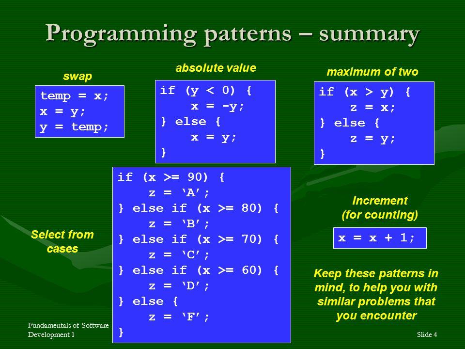 Fundamentals of Software Development 1Slide 4 Programming patterns – summary temp = x; x = y; y = temp; if (y < 0) { x = -y; } else { x = y; } if (x >