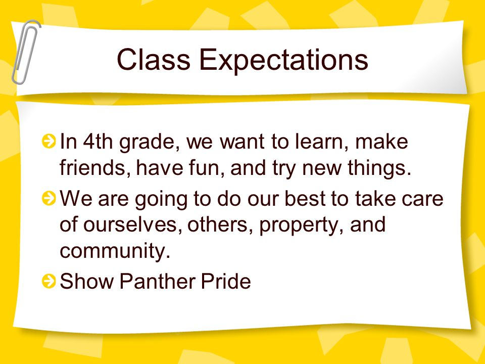 Class Expectations In 4th grade, we want to learn, make friends, have fun, and try new things.